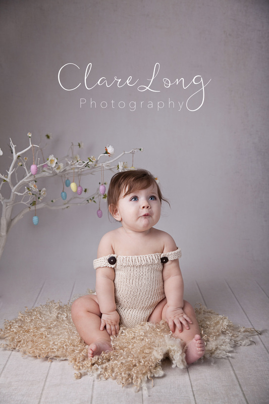 Clare Long Photography Bexley Kent photographer Sitter session easter theme girl romper blue eyes