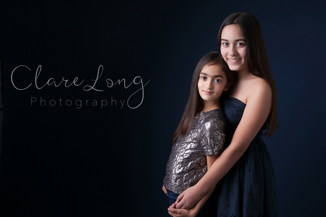 Clare Long Photography Kent Childrens photographer fine art sisters blue