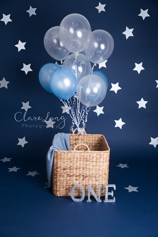 Clare Long Photography Kent photographer handmade set personalised shoot balloons blue stars Picture