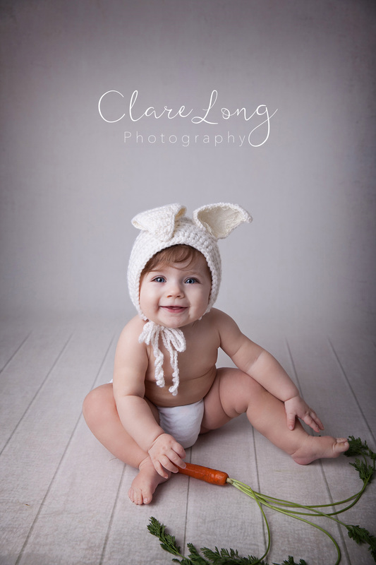 Clare Long Photography Bexley Kent photographer Sitter session easter bunny carrot themed girl
