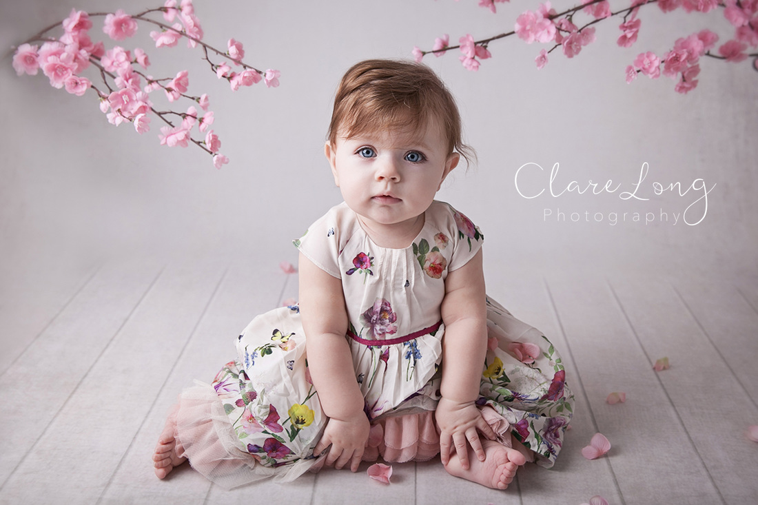 Clare Long Photography Bexley Kent photographer Sitter session Cherry Blossom girl baby