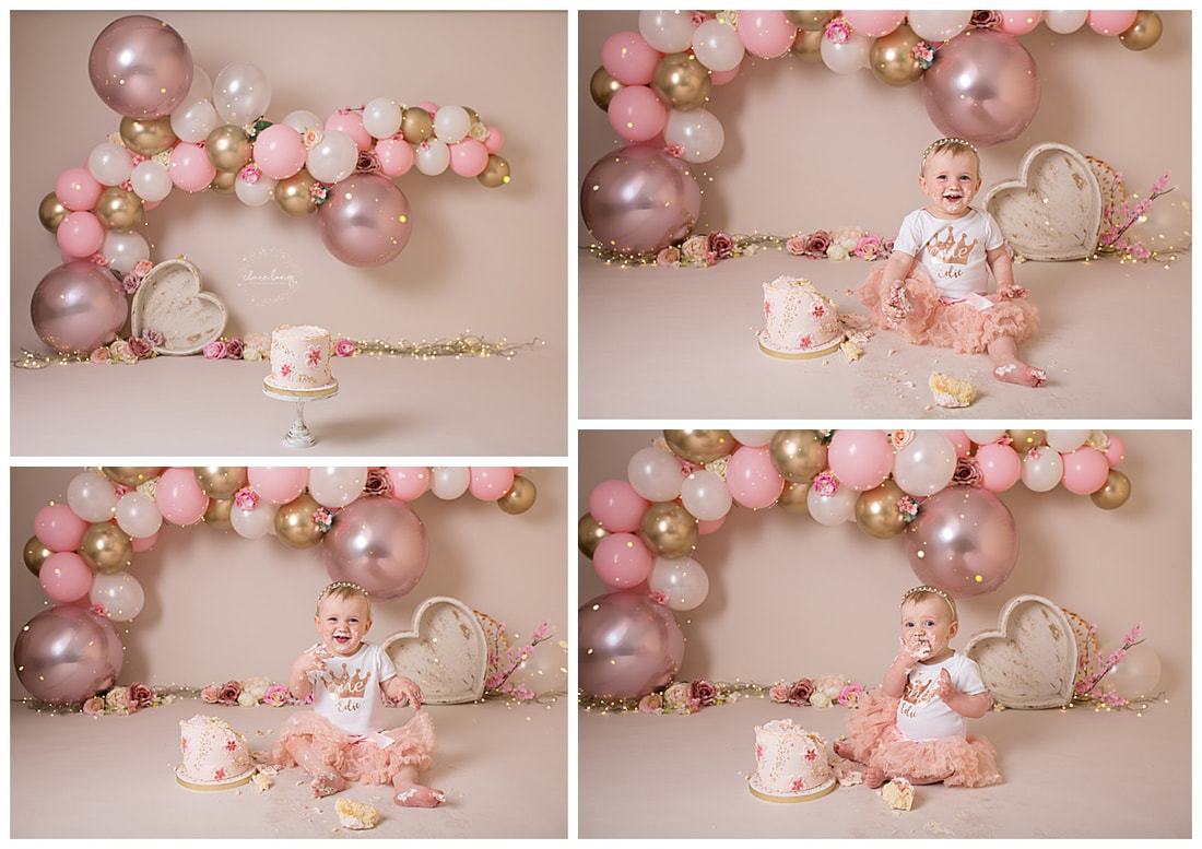 Pink balloon garland cake smash bexley baby girl photos
